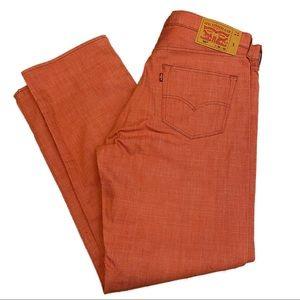 LEVI'S 501 Designer Denim Jeans - Salmon Pink Red